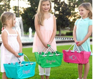 SHIPS next business day ~ Personalized Easter Basket ~ Monogrammed Easter Basket~ Monogrammed Mini Market Tote ~ quick shipping