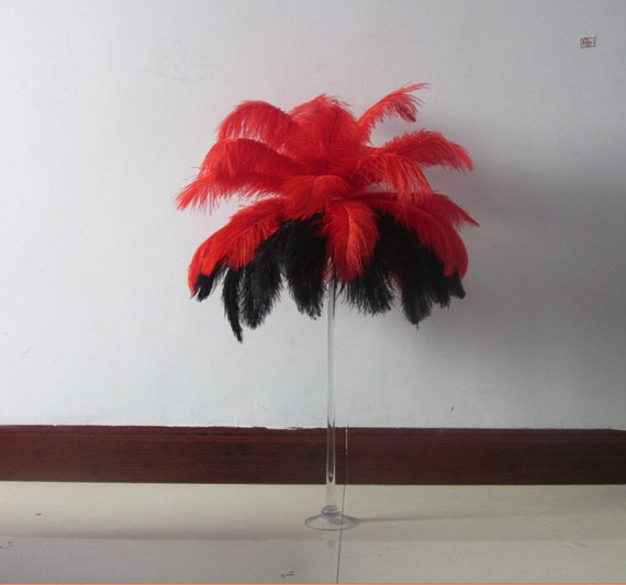Feathers black red ostrich feather plume for wedding