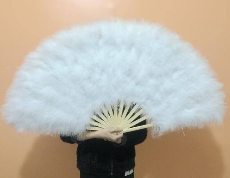 arrival in a week,6pieces 21*42inch Large  Burlesque Fan Dance  feather fan Bridal Bouquet Party Dance Fan Showgirl Large Fan White