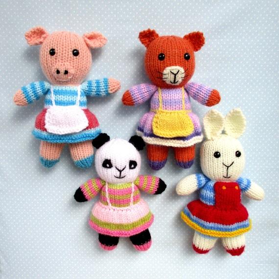 Rabbit Cat Pig Panda 4 Toy Animal Doll Knitting Patterns Etsy
