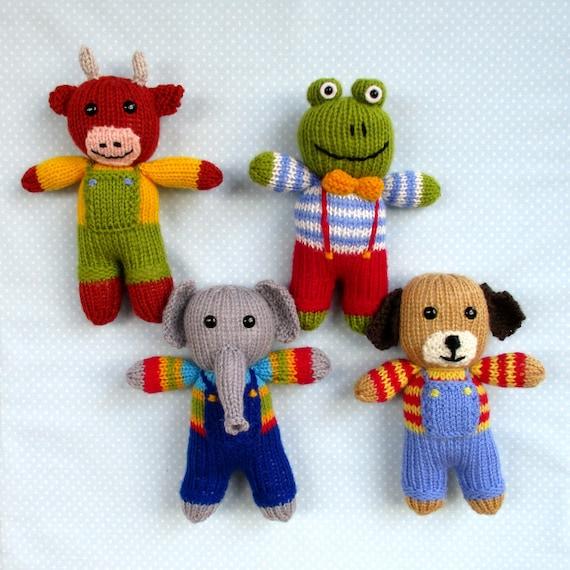 Cow Elephant Frog Dog 4 Toy Animal Doll Knitting Patterns Etsy