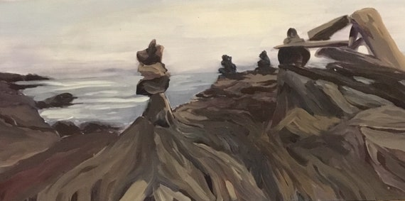 Spring Sale Maine Quoddy Cliffs Rock Cairns Downeast Maine Etsy