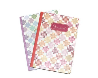 Pastel Geometric Blank Journals Set of Two 5 x 7 Craft Supplies  Ready To Personalize