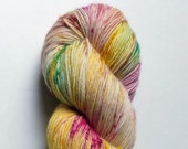 Foxglove: hand dyed variegated and speckled Merino sock yarn by Star Fiber Studio
