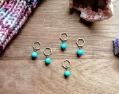 Turquoise howlite: Stitchmarker set of 5 (up to 6 mm needles) by Star Fiber Studio