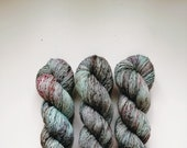 Chocolate Mint: hand dyed tonal and speckled Merino sock yarn by Star Fiber Studio