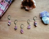Rhodonite: Stitchmarker / Progress keeper set of 5 by Star Fiber Studio