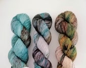 Labradorite 3 skein fade set: hand dyed tonal and speckled Merino sock yarn by Star Fiber Studio
