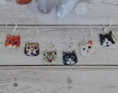 Cat face: Enamel Stitch markers / Progress keepers set of 6 by Star Fiber Studio