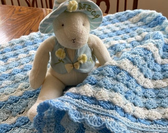 Blue Baby Afghan, Crochet Baby Afghan, Crochet Baby Blanket, Baby Afghan Crochet,Newborn Baby Boy Blanket, Baby Boy Afghan, Baby Blanket
