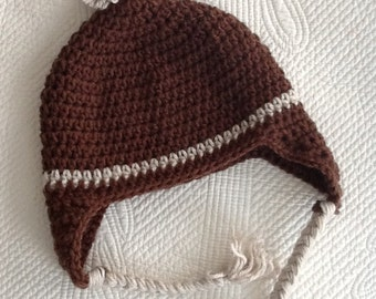 e6a22928c8716 Crochet Hat with Earflaps Blue and Brown Hat Crochet Hat