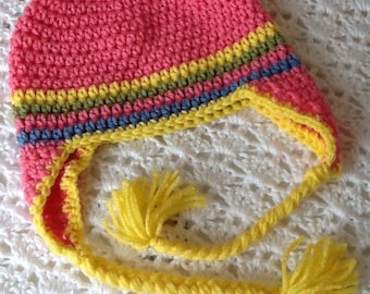 Crochet Hat with Flower and Earflaps, Pink Hat, Crochet Hat, Baby Hat, Newborn Hat, Baby Girl Hat, Pink Hat, Crochet Baby Hat