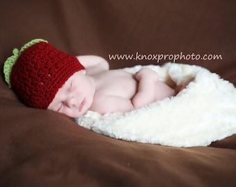 Crochet Apple Hat, Red Apple Hat, Crochet Baby Hat, Red Apple Baby Hat, Newborn Hat, Newborn Baby Hat, Apple Red Infant Hat