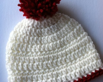 White Crochet Baby Hat with Pompon, Crochet Baby Hat, Newborn Hat, Baby Hat, White Hat, Hat with Red Pompon, Baby Girl Hat, So Soft Baby Hat