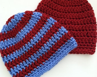 Red and Blue Prep Set, Crochet Baby Hats, Newborn Beanies, Red Baby Hat, Red and Blue Stripe Baby Hat, Crochet Baby Beanies