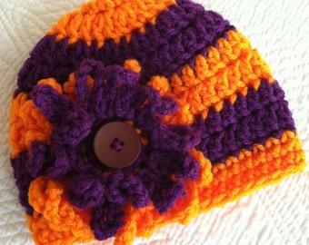 Halloween Baby Hat with Flower, Crochet Baby Hat, Newborn Hat, Orange Hat, Purple Hat, Hat with Flower, Baby Girl Hat, Spider Mum Baby Hat