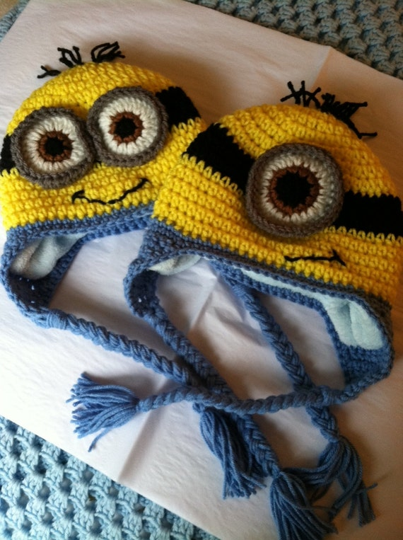 Minion Hat With Fleece Lining Child Animal Hat Minion Hat Etsy