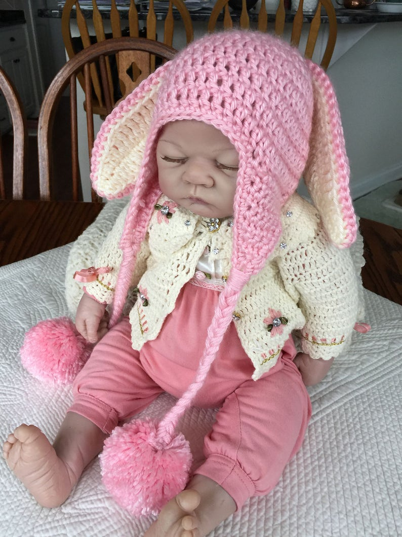 295773eaf32 Crochet Bunny Hat with Earflaps Bunny Hat Crochet Bunny Hat