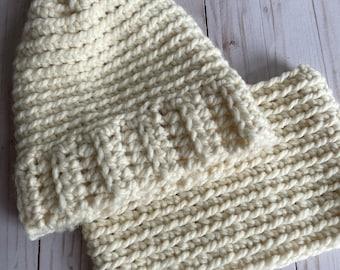 CRocHet Beanie Pattern,  Womans Crochet Beanie and Cowl, Crochet Hat, Crochet Cowl, Woman's Beanie, Beanie Pattern, Crochet Hat Cowl Pattern