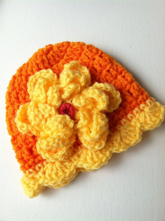 6ad88337719 Crochet Baby Hat with Flower Orange and Yellow Baby Hat