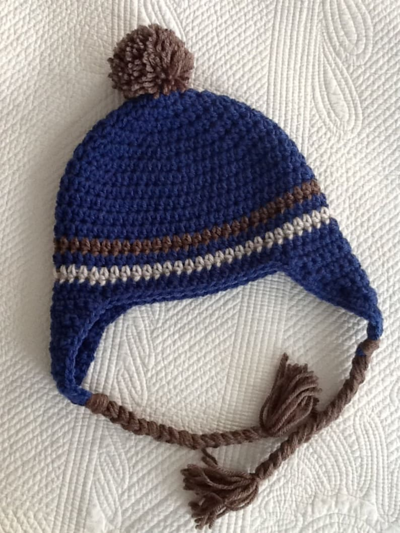 b3b0bd9da Crochet Hat with Earflaps, Blue and Brown Hat, Crochet Hat with Pompon,  Little Boy Hat, Stripe Baby Hat, Hat with Earflaps