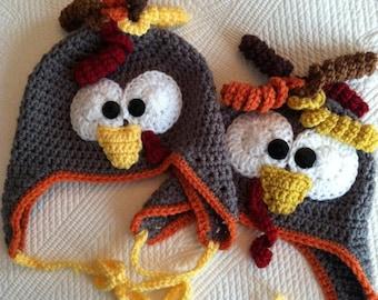 CRoChet PAtTerN, Crochet Hat, Turkey Hat,Hat Pattern, Instant Download, Child Hat Pattern, Pattern Crochet Hat, Crochet Child Hat Pattern