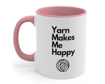 Crochet Mug, Yarn Makes Me Happy Mug, Crochet Coffee Mug, Crochet Lover's Mug, Gift for Crocheter, Yarn Lover Mug, Crochet Mug