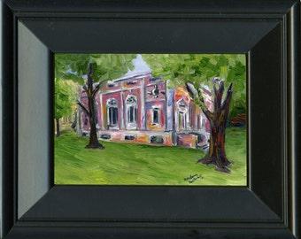 Harvard's Lowell Hall - Original Oil Painting 5x7 Framed
