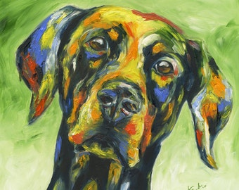 Natural-Eared Doberman - Original Oil Painting 12x12 inches