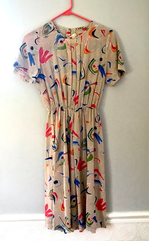 80's Abstract A-Line Dress