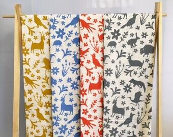 1 HALF YARD Handprinted Linen/Cotton Fabric Otomi Print