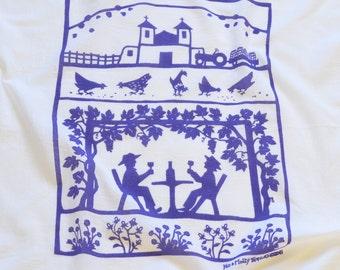 Flour Sack Dish Towel/ vineyard towel/ kitchen towel/ wine dish towel/ wine tasting/ grape vines/ purple towel/ turquoise towel/