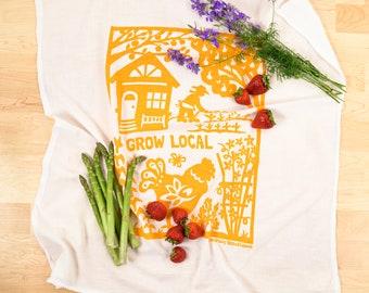 grow local/ gardening towel/ flour sack dish towel/ chicken towel/ gardeners gift/ farmers gift/ local farming/ housewarming gift/ tea towel