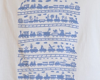 Flour Sack Dish Towel - Toy Train: Gold or Steel Blue