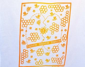 Flour Sack Dish Towel - Dance, Dance, Dance! Two-tones,Yellow and Squash