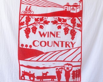 Flour Sack Dish Towel - Wine Workers, Red