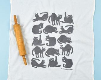 cat dish towel/ flour sack dish towel/ cat lovers/ orange cats/ pink cats/ grey cats/ cat poses/ kitchen towel/ housewarming gift/ funny cat