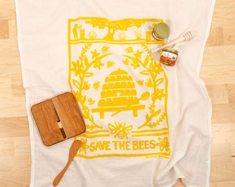 dish towel/ save the bees/ bees dish towel/ yellow kitchen towel/ all cotton dish towel/ hand printed/ bee hive/ honey bees/flour sack