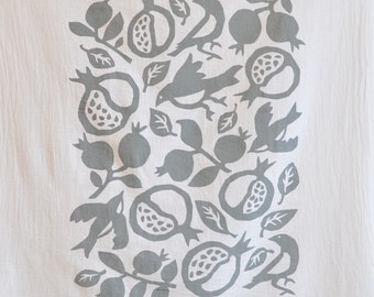 Flour Sack Dish Towel - Pomegranate: Grey or Red or Yellow