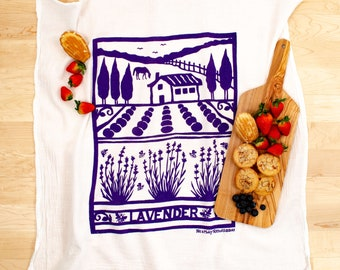 Flour Sack Dish Towel/ Lavender farm/ lavender towel/ purple towel/ kitchen towel/ cotton towel/ lavender fields/ handprinted towel