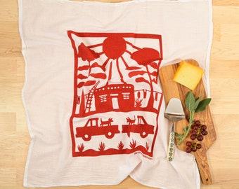 Flour Sack Dish Towel/ Adobe House/ Southwest towel/ kitchen towel/ cotton towel/ housewarming gift/ sunshine towel/ dish cloth