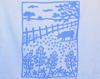 Flour Sack Dish Towel - Bluebonnets, Navy or Sky Blue