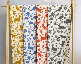 1 FULL YARD Handprinted Linen/Cotton Fabric Otomi Print