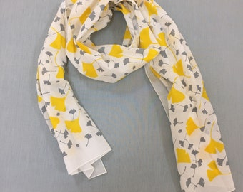 Scarf, Organic Cotton Voile, Yellow and Grey