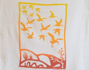Flour Sack Dish Towel - Immigration/Migration: Two Tone Yellow or Two Tone Blue