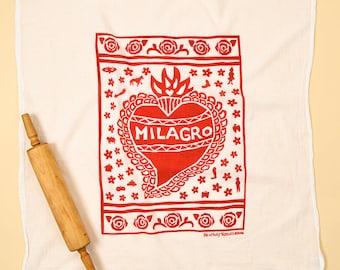 Flour Sack Dish Towel/ Milagro heart/ heart towel/ kitchen towel/ red kitchen/ dish cloth/ cotton towel/ miracle towel/ handprinted towel