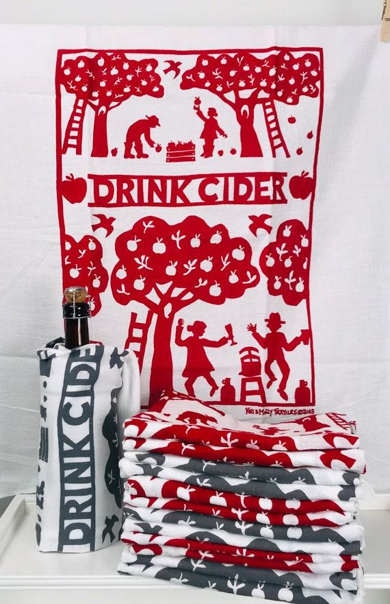 Drink Cider Dish Towel Flour Sack Towel Apple Orchard Red Etsy