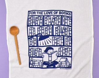 book towel/ flour sack dish towel/ book gift/ tea towel/ cotton towel/ teacher gift/ kitchen decor/ kitchen gift/ books are fun/ dish cloth