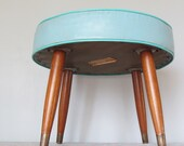 LAYAWAY - Sale Pending Do NOT buy - Mid Century Atomic Stool Turquoise Aqua Retro Pencil Leg Footstool