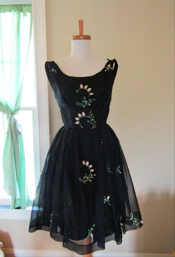 1950s Silk Organza/Organdy Rosebud Party Dress XXS